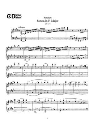 Thumbnail of first page of Allegro, D.154 piano sheet music PDF by Schubert.