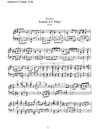 Thumbnail of first page of Andante in C major, D.29 piano sheet music PDF by Schubert.