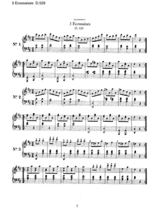 Thumbnail of first page of 3 Ecossaises, D.529 piano sheet music PDF by Schubert.