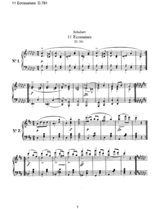 Thumbnail of first page of 11 Ecossaises, D.781 piano sheet music PDF by Schubert.