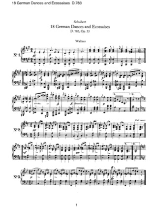 Print and download for free: 18 German Dances and Esoccaises, D.783 piano sheet music by Schubert.