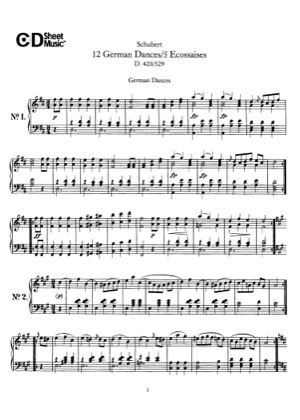 Thumbnail of first page of 12 German Dances, D.420 piano sheet music PDF by Schubert.