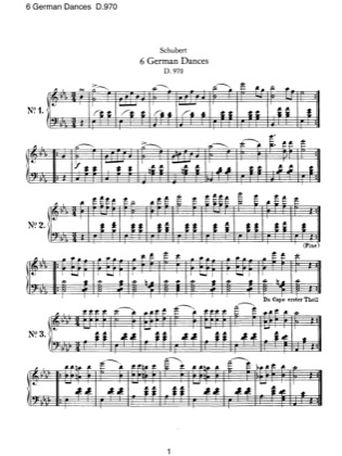 Preview of First Page of 6 German Dances, D.970 sheet music by Schubert