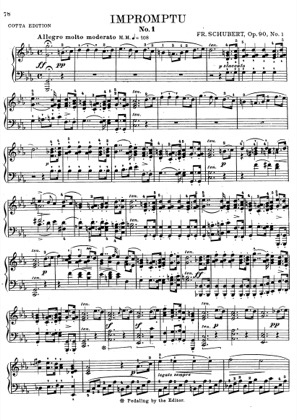 Thumbnail of first page of 4 Impromptus, Op.90 piano sheet music PDF by Schubert.