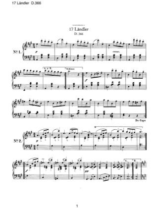 Thumbnail of first page of 17 Landler, D.366 piano sheet music PDF by Schubert.