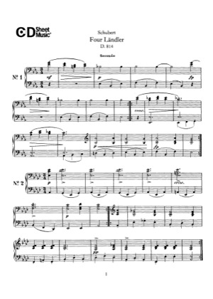 Thumbnail of first page of 4 Landler, D.814 piano sheet music PDF by Schubert.