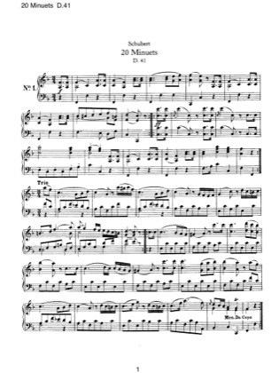 Thumbnail of first page of 20 Minuets, D.41 piano sheet music PDF by Schubert.