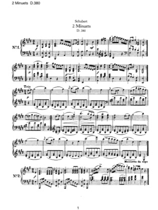 Thumbnail of first page of 2 Minuets, D.380 piano sheet music PDF by Schubert.