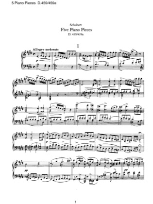 Thumbnail of first page of 5 Piano Pieces, D.459/459a piano sheet music PDF by Schubert.