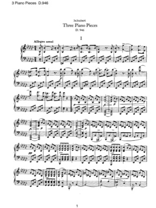 Thumbnail of first page of 3 Piano Pieces, D.946 piano sheet music PDF by Schubert.