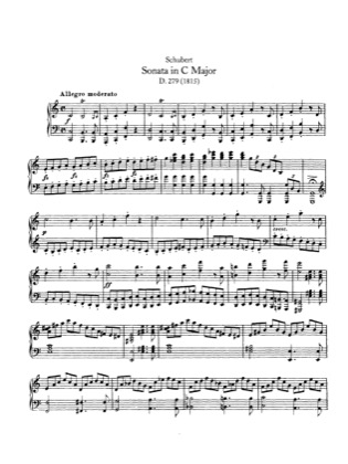 Thumbnail of first page of Piano Sonata in C major, D.279 piano sheet music PDF by Schubert.