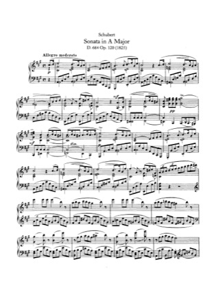 Thumbnail of first page of Piano Sonata in A major, D.664 piano sheet music PDF by Schubert.