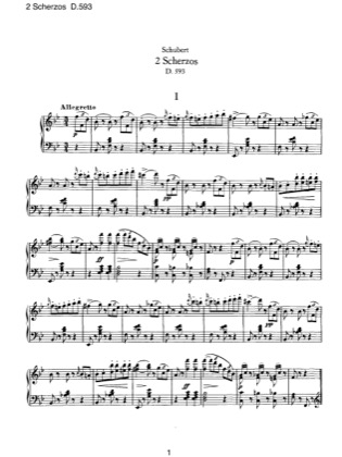 Thumbnail of first page of 2 Scherzos, D.593 piano sheet music PDF by Schubert.