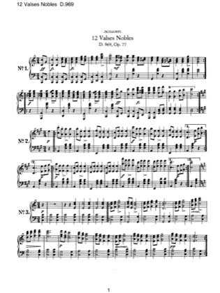 Thumbnail of first page of 12 Valses Nobles, D.969 piano sheet music PDF by Schubert.