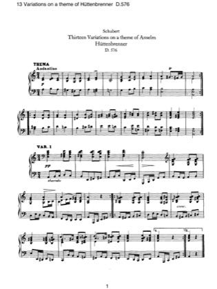 Thumbnail of first page of 13 Variations on a Theme of Huttenbrennet, D.576 piano sheet music PDF by Schubert.