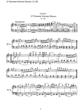 Thumbnail of first page of 12 Viennese German Dances, D.128 piano sheet music PDF by Schubert.