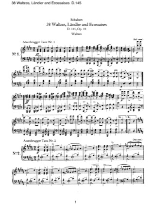 Thumbnail of first page of 38 Waltzes, Landler and Ecossaises, D.145 piano sheet music PDF by Schubert.