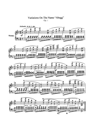 Thumbnail of first page of Abegg Variations, Op.1 piano sheet music PDF by Schumann.