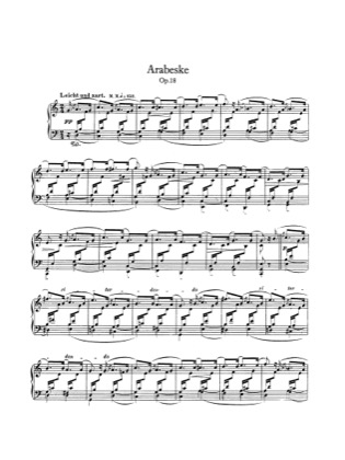 Thumbnail of first page of Arabeske, Op.18 piano sheet music PDF by Schumann.