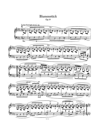 Thumbnail of first page of Blumenstuck, Op.19 piano sheet music PDF by Schumann.