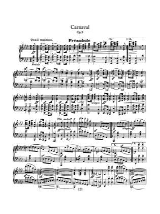 Thumbnail of first page of Carnaval, Op.9 piano sheet music PDF by Schumann.