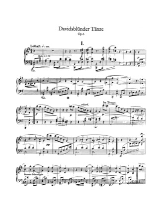 Thumbnail of first page of Davidsbundlertanze, Op.6 piano sheet music PDF by Schumann.
