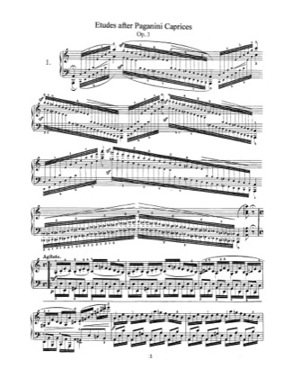 Thumbnail of first page of Etudes after Paganini Caprices, Op.3 piano sheet music PDF by Schumann.