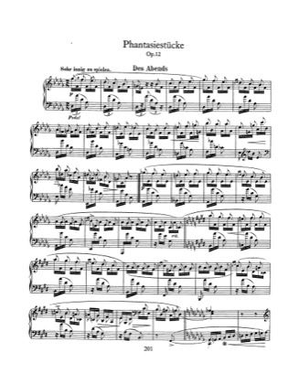 Thumbnail of first page of Fantasiestucke, Op.12 piano sheet music PDF by Schumann.