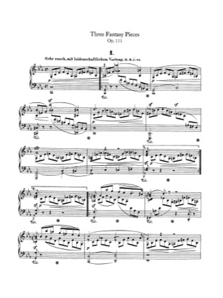 Thumbnail of first page of 3 Fantasiestucke, Op.111 piano sheet music PDF by Schumann.