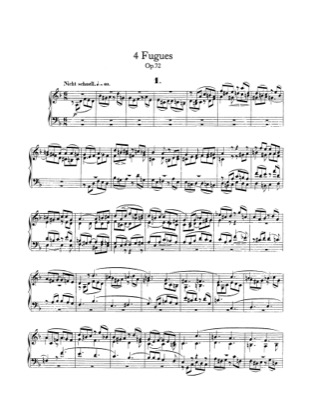 Thumbnail of first page of 4 Fugues, Op.72 piano sheet music PDF by Schumann.