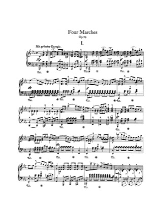 Thumbnail of first page of 4 Marches, Op.76 piano sheet music PDF by Schumann.