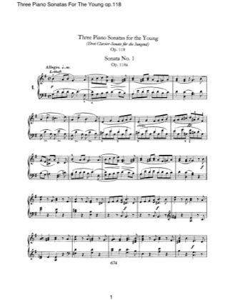 Thumbnail of first page of 3 Piano Sonatas for the Young piano sheet music PDF by Schumann.