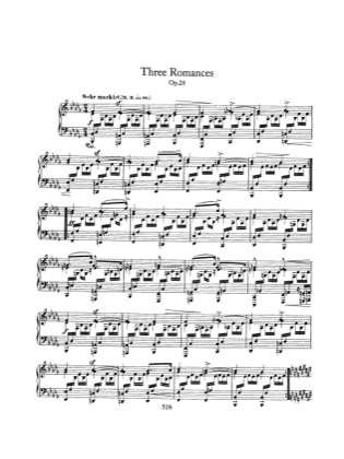 Thumbnail of first page of 3 Romances, Op.28 piano sheet music PDF by Schumann.