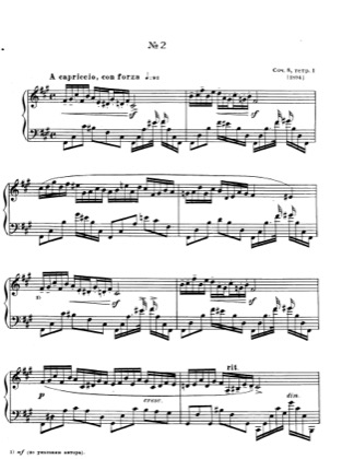 Thumbnail of first page of No.2 Etude in F sharp minor, Op.8 piano sheet music PDF by Scriabin.