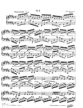 Thumbnail of first page of No.4 Etude in B major, Op.8 piano sheet music PDF by Scriabin.