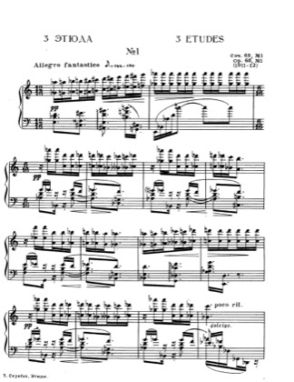 Thumbnail of first page of Etude No.1, Op.65 piano sheet music PDF by Scriabin.