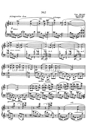 Thumbnail of first page of Etude No.2, Op.65 piano sheet music PDF by Scriabin.