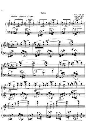 Thumbnail of first page of Etude No.3, Op.65 piano sheet music PDF by Scriabin.