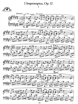Thumbnail of first page of 2 Impromptus, Op.12 piano sheet music PDF by Scriabin.