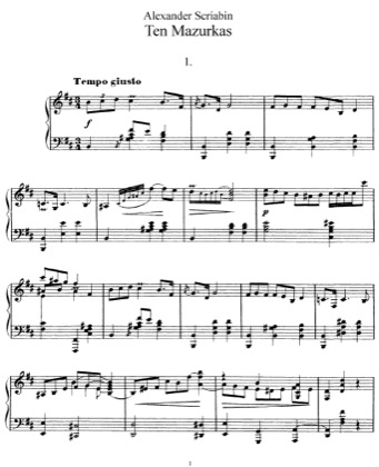 Thumbnail of first page of 10 Mazurkas, Op.3 piano sheet music PDF by Scriabin.