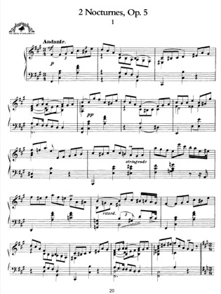 Thumbnail of first page of 2 Nocturnes, Op.5 piano sheet music PDF by Scriabin.
