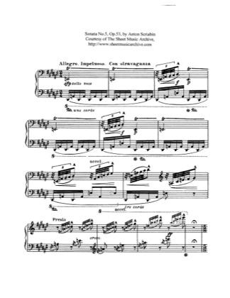 Thumbnail of first page of Piano Sonata No.5, Op.53 piano sheet music PDF by Scriabin.