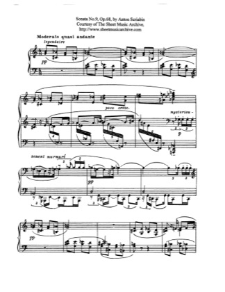 Thumbnail of first page of Piano Sonata No.9, Op.68 piano sheet music PDF by Scriabin.