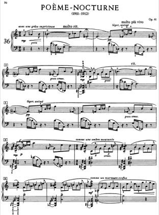 Thumbnail of first page of Poeme-Nocturne, Op.61 piano sheet music PDF by Scriabin.