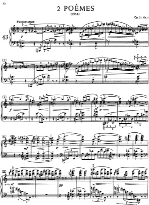 Thumbnail of first page of 2 Poemes, Op.71 piano sheet music PDF by Scriabin.
