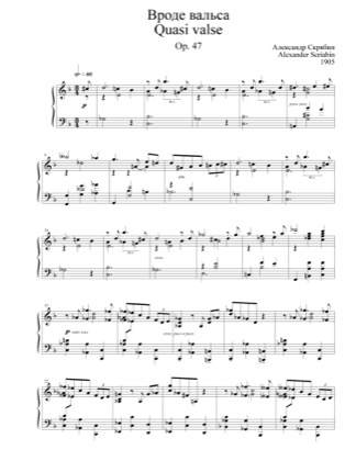 Thumbnail of first page of Quasi Valse, Op.47 piano sheet music PDF by Scriabin.