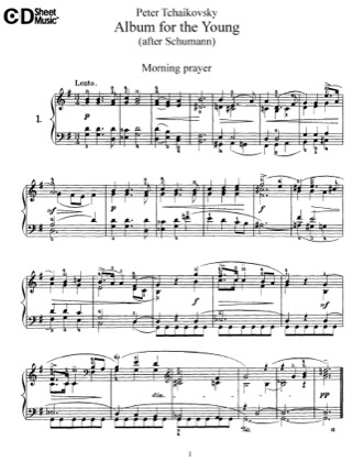 Thumbnail of first page of Album pour Enfants, Op.39 piano sheet music PDF by Tchaikovsky.
