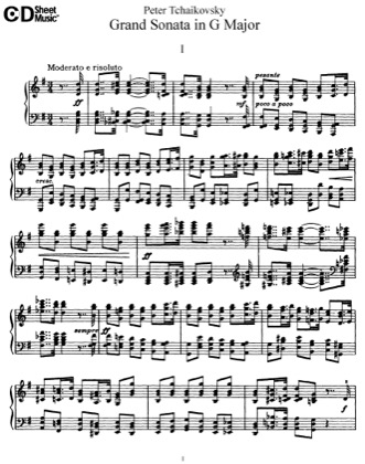 Thumbnail of first page of Grand Sonata, Op.37 piano sheet music PDF by Tchaikovsky.