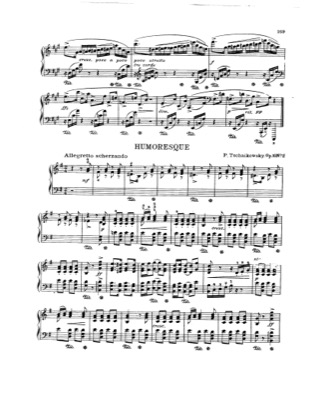 Thumbnail of first page of Humoresque piano sheet music PDF by Tchaikovsky.
