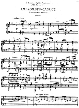 Thumbnail of first page of Impromptu-Caprice piano sheet music PDF by Tchaikovsky.